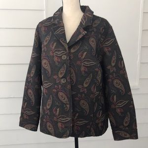 CJ Banks 2X Tapestry Button Up Jacket Paisley